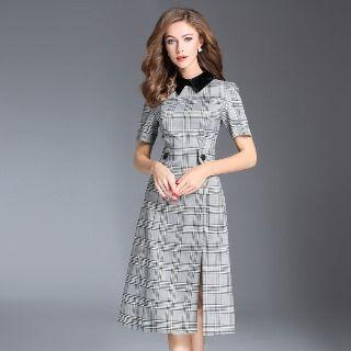 Short-sleeve Plaid Slit-hem Dress