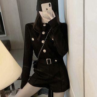 Long-sleeve Buttoned Knit Top / Wide-leg Shorts