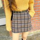 Belted A-line Plaid Miniskirt