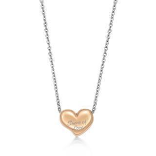 Ip Rose Gold Share Of Love Heart Pendant Ip Rose Gold - One Size