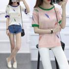 Feather Embroidered Short Sleeve Knit T-shirt