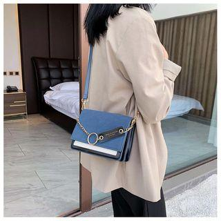 Faux Leather Metal Ring Flap Crossbody Bag