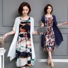 Set: Printed Sleeveless Midi Dress + Elbow Sleeve Long Light Jacket