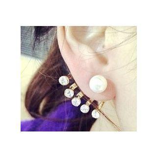 Rhinestone Faux Pearl Swing Earring 1 Pair - As Shown In Figure - One Size