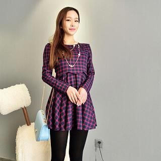 Long-sleeve Plaid Dress
