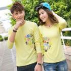 Long-sleeve Printed Couple Matching T-shirt