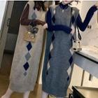 Mock Neck Sweater / Sleeveless Midi Knit Dress
