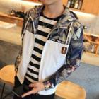 Printed Panel Hooded Zip-up Jacket