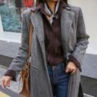 Slit-side Herringbone Wool Blend Coat