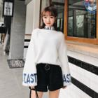 Turtleneck Lettering Knit Top