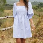 Pinstriped Lantern-sleeve A-line Dress