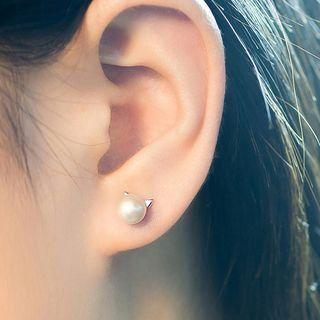 925 Sterling Silver Faux Pearl Stud Earrings
