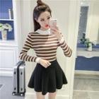 Mock Neck Striped Long Sleeve Knit Top