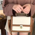 Twist-lock Contrast-trim Shoulder Bag
