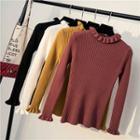 Long-sleeve Plain Knit Ruffled Top