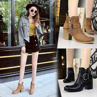 Faux Leather Perforated Panel Chunky Heel Buckled Short Boots