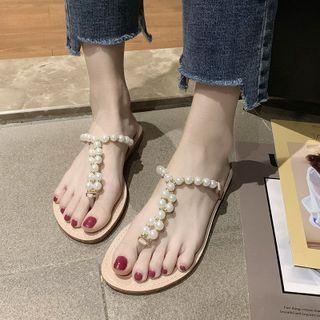 Faux Pearl Strap Flip-flops