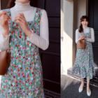 Button-detail Floral Print Suspender Dress