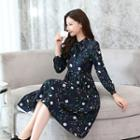 Long-sleeve Tie-neck Floral Pleated Dress