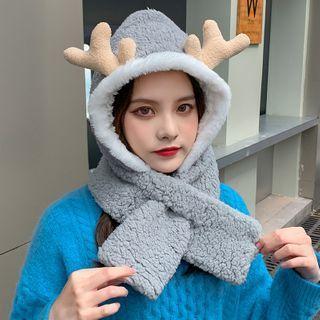 Deer Horn Chenille Hooded Scarf