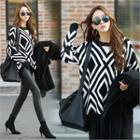 Patterned Long Knit Top Black - One Size