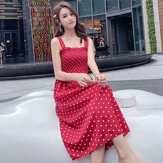Wide Strap Dotted Smocked Midi A-line Dress