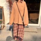 Long Sleeve Oversized Plaid Shirtdress / Long Sleeve Pocket Loose Pullover