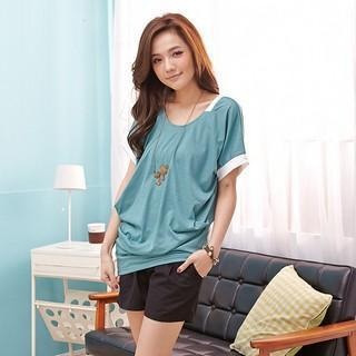 Short-sleeve Piped Drape-front Top