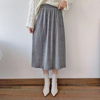 Band-waist Long Corduroy Skirt