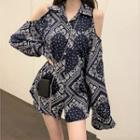 Off-shoulder Printed Shirt As Shown In Figure - One Size