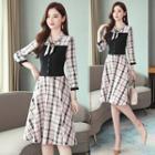 Tie-neck Plaid 3/4-sleeve A-line Dress