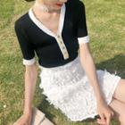 Short-sleeve Knit Top Black & White - One Size