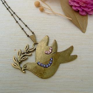 Big Big Pigeon Necklace Copper - One Size