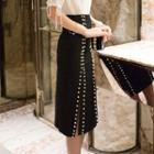 Beaded Split Hem Pencil Skirt