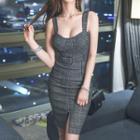 Check Sleeveless Bodycon Dress
