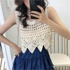 Sleeveless Cropped Open-knit Top