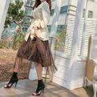 Leopard Tulle Long Skirt