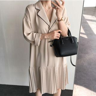 Long-sleeve Pleated Dress Almond - One Size