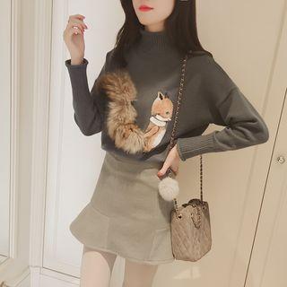 Fox Print Furry Trim Sweater