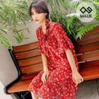 Frilled Floral Print Chiffon Midi Dress