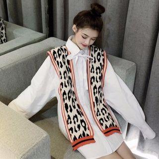 Bow-accent Plain Shirt / Leopard Pattern Shawl