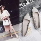 Buckled Pointed Genuine Leather Flats
