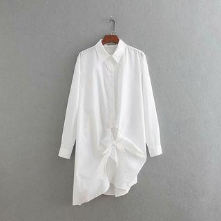Long-sleeve Asymmetric Shirtdress
