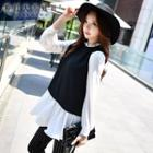 Color Block Frilled Collar Chiffon Top