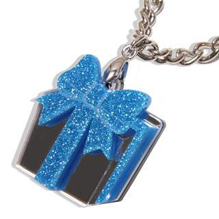 Sweet Blue Glitter Present Chain Silver Necklace
