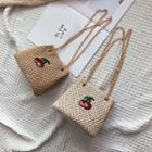 Cherry Embroidery Straw Bucket Bag