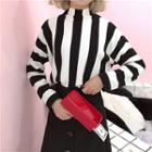 Striped Mock Neck Knit Pullover