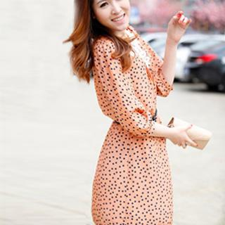 Elbow-sleeve Dotted Dress