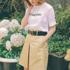 Set: Short-sleeve Lettering T-shirt + A-line Skirt