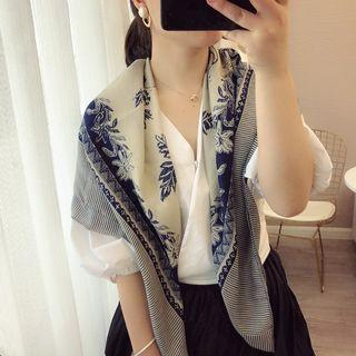 Leaf Print Neck Scarf Off-white & Navy Blue - One Size